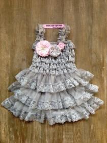 wedding photo - Gray Lace Ruffle Dress & Headband 1st Birthday Dress 2nd Birthday Dress Flower Girl Dress Gray lace Dress Rustic Lace Dress Wedding Dress