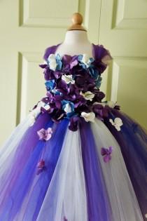 wedding photo - Flower Girl Dress, Tutu Dress, Photo Prop, in Purple Blue and Ivory, Flower Top, Tutu Dress