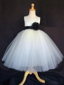 wedding photo - Ivory Wedding Bridal Bridesmaids Tulle Flower Girl dress Toddler 9 12 18 24 Months 2 4 6 8 10 12 14 Sash Color 24