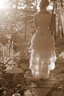 wedding photo - Vintage Style Victorian Wedding Dress with Corset  All Natural Cotton Handmade Just for you