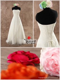 wedding photo - Strapless A Line Wedding Dress Sweetheart Neckline Beaded Applique Lace Up Back Style WD118