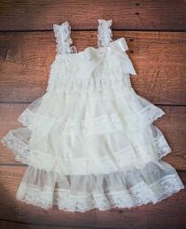 wedding photo - Ivory dress-Ivory girl dress-cream dress-flower girl dress-baptism dress-flower girls dress-baby dress