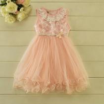 wedding photo - Blush Pink Tulle Girl Dress / lace flower girl wedding dress / tutu dress / lace flower girl dress / 1st birthday dress / tutu tulle dress