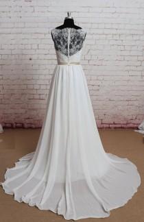 wedding photo - Sheer Lace Back Wedding Dress, Sexy Wedding Dress, A-line Bridal Gown, Ivory Wedding Dress