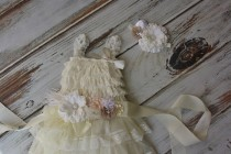 wedding photo - Ivory Flower Girl Dresses with sash and headband - Lace dress- Rustic Girls Dress- Baby Lace Dress- Junior Bridesmaid