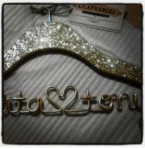 wedding photo - Sparkle Wedding Hanger, Personalized Hanger, Custom Hanger, Bride Hanger, Name Hanger, Bridal, Bridesmaid Gift, Glitter Wood THE ORIGINAL
