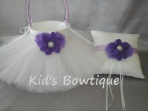 wedding photo - CUSTOM LISTING: 2 Wedding Flower Girl Tutu Baskets and 1 Matching Ring Bearer Pillow-  Purple/Lavender Flowers
