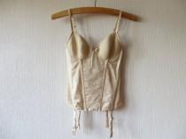 wedding photo - Beige Lace Suspender Top Nude Boned Embroidered Tulle Lace Women's Garter Belt Cabaret Burlesque Lingerie Size Medium