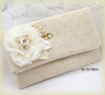 wedding photo - Bridal Linen Clutch, Wedding, Handbag, Bag, Shabby Chic, Rustic in Ivory, Cream and Gold with Lace and Pearls- Vintage Inspired