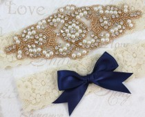 wedding photo - ALANA  - ROSE GOLD Stretch Lace Garter, Pearl Wedding Garter Set, Rhinestone Crystal Bridal Garters, Keepsake Garter, Something Blue