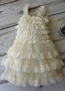 wedding photo - Ivory Chiffon Girls Dress- Flower Girl Dresses- Vintage Dress-Cream dress-Lace dress- Rustic Girls Dress- Baby Lace Dress- Junior Bridesmaid