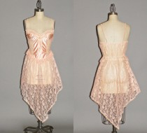 wedding photo - Vintage Bohemian Bridal Lingerie, Handkerchief Hem Pink Lace Negligee Nightie, Jill Andrea of New York