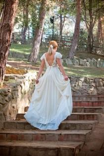 wedding photo - Grecian Long Wedding Gown Ivory-Cream Wedding Dress Lace And Chiffon Bridal Gown - Handmade By SuzannaM Designs