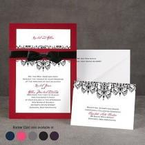 wedding photo - Chandelier Damask - Layered Invitation