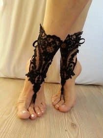 wedding photo - Free ship Black french lace gothic barefoot sandals wedding prom party steampunk burlesque vampire bangle beach anklets bridal