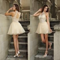wedding photo - New Arrival Halter Ivory Short Prom Dresses with Lace Applique Hollow Back Mini Organza Sheer Sexy Short Party Dresses 2015 Ball Gowns Online with $101.6/Piece on Hjklp88's Store