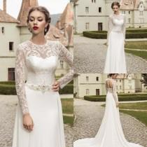 wedding photo - Vintage 2015 Spring Jewel Lace Wedding Dresses Illusion with Beaded Cheap Long Sleeves Lace-up Bridal Gowns Hollow Back Long Wedding Ball Online with $123.72/Piece on Hjklp88's Store