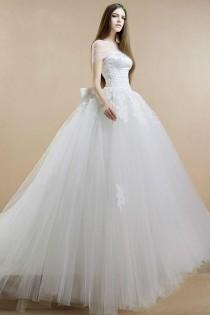 wedding photo - Exquisite 2015 Wedding Dresses Ball Gown Sequins A-Line Cheap Beading Lace Applique Tulle Strapless Bridal Ball Dress Gowns Court Train Online with $129.95/Piece on Hjklp88's Store