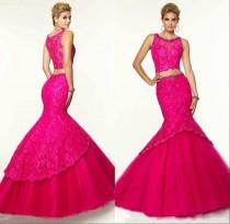 wedding photo - Sexy Two Pieces Evening Dresses Lace Mermaid Beads Trumpet Applique Modest Tulle Crew Neck Fuchsia Formal Pageant Long Party Gowns Sweep Online with $133.51/Piece on Hjklp88's Store