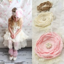 wedding photo - Rustic Wedding Chiffon Rose Lace Flower Headband.  Pink, Beige Buff Champagne, Ivory Cluster. 1st Birthday Photo Shoot. Wedding Flower Girl