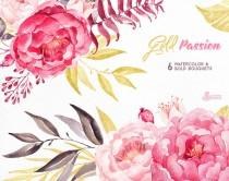 wedding photo - Gold Passion 6 Bouquets, Watercolor hand painted clipart, peonies, floral wedding invite, pink, greeting card, diy art, flowers, glitter