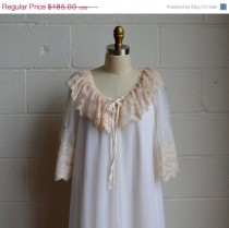 wedding photo - Moving Sale Vintage Peignoir Set 1970s Intime California Lingerie Long Gown and Robe Layers of White Chiffon with Beige Floral Lace Size Med