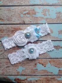 wedding photo - wedding garter / bridal  garter/  lace garter / toss garter /baby blue  /  Something BLue wedding garter / vintage inspired lace garter