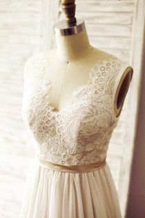 wedding photo - Ivory Lace Chiffon Wedding Dress Deep V Back/ Backless Bridal Gown/Champagne Lining/Open Back Beach Dress