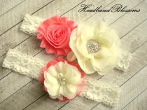 wedding photo - Beautiful CORAL Bridal Garter Set - Ivory Keepsake & Toss Wedding Garter - Chiffon Flower Rhinestone Lace Garters - Vintage Lace Garter