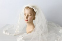wedding photo - Wedding Veil / Mantilla Veil / 1970s Wedding Veil / Blusher / Alcon Lace Trim