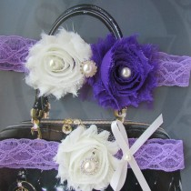 wedding photo - SALE Wedding Garter / Lace Garter / lavender-purple & Ivory / Bridal Garter Set / Toss Garter / Vintage Inspired/Bridal garter