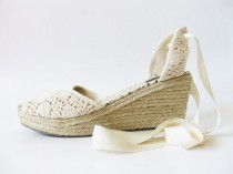 wedding photo - Ivory Espadrilles Crochet Cotton Lace Platforms Boho Style Cream Wedding Wedges Ladies Summer Shoes Gypsy Queen Tan Sandals UK 7 US 8 EUR 41