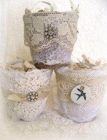 wedding photo - Altered Peat Pot Shabby White Decor Altered Vintage White Pot Vintage Lace Cottage Decor Vintage Rhinestone