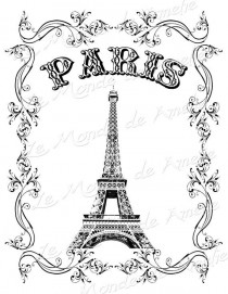 wedding photo - Tour Eiffel Vintage Romantic Large Image Paris France Europe Transfer Gift Tag Label Napkins Burlap Pillow Original Large Image Sheet N.126