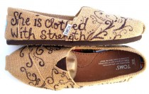wedding photo - The Proverbs 31 - Burlap TOMS Shoes with Bible Verse
