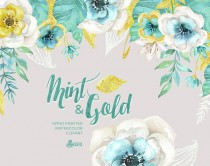 wedding photo - Mint & Gold. Watercolor floral Bouquets and arrangement Clipart. Hand painted flowers, wedding diy elements, flowers, invite, gold glitter