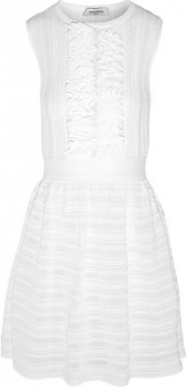wedding photo - Valentino Lace-paneled ruffled knitted mini dress