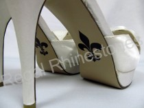 wedding photo - Fleur de Lis Shoe Sticker for Bridal Shoes - French Lily Stylized Flower Decal - Fleur de Lis Wedding Shoe Applique