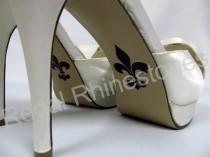 wedding photo - Fleur de Lis Shoe Sticker for Bridal Shoes - French Lily Stylized Flower Decal - Fleur de Lis Wedding Shoe Applique