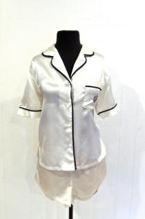 d00349bb75 vintage silky pajamas - 1970s white navy short pajama set