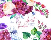 wedding photo - Sweet Poison: 5 Watercolor Bouquets, hydrangea, roses, poppy, wedding invitation, floral, greeting card, diy clip art, purple flowers