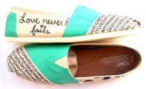 wedding photo - The Iris - TOMS Shoes Teal and Cream Custom TOMS
