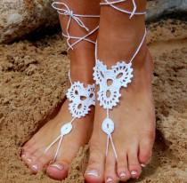 wedding photo -  Beach Wedding Shoes, Crochet Barefoot Sandals, Bridal Shoes, Wedding Accessories, Nude Shoes, Yoga socks, Foot Jewelry