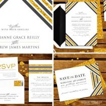 wedding photo - Save The Date Art Deco Stripe Gold,Glitter, Sparkle - Available As PDF Printable