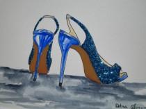 wedding photo - Sparkle Blue High Heel Shoes Wedding Glitter Heels Showers Gifts Fashion Inspired Art Original Illustration Painting by Artist Debra Alouise