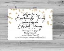 wedding photo - Elegant Bachelorette Invitation with Gold Glitter Sparkle Printable, Bachelorette Invite JPEG Custom
