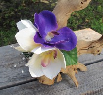 wedding photo - Hawaiian - Tropical  White and Purple Orchids hair clip - Wedding- real touch orchids -