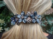 wedding photo - Dark Grey Moonstone Floral Rhinestone Hair Barrette Accessory Crystal Swag Ponytail Holder Wedding Bridal Hair Clip Flower Hair Jewelry