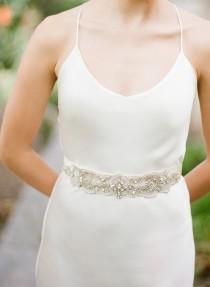 wedding photo - Rosette Bridal Sash Swarovski Crystals Wedding Belt