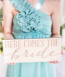 wedding photo - Here Comes the Bride Wedding Sign Wooden Rustic Sign for Flower Girls or Ring Bearers Wedding Ceremony Sign for Bride (Item - EHB100)